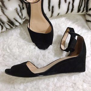J. Crew Laila wedges in black suede, Size 7.5